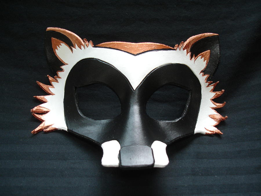 Raccoon Mask Sculpture by Fibi Bell