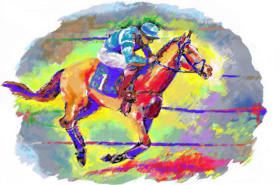 Horses Digital Art - Race Horse by Mary Armstrong