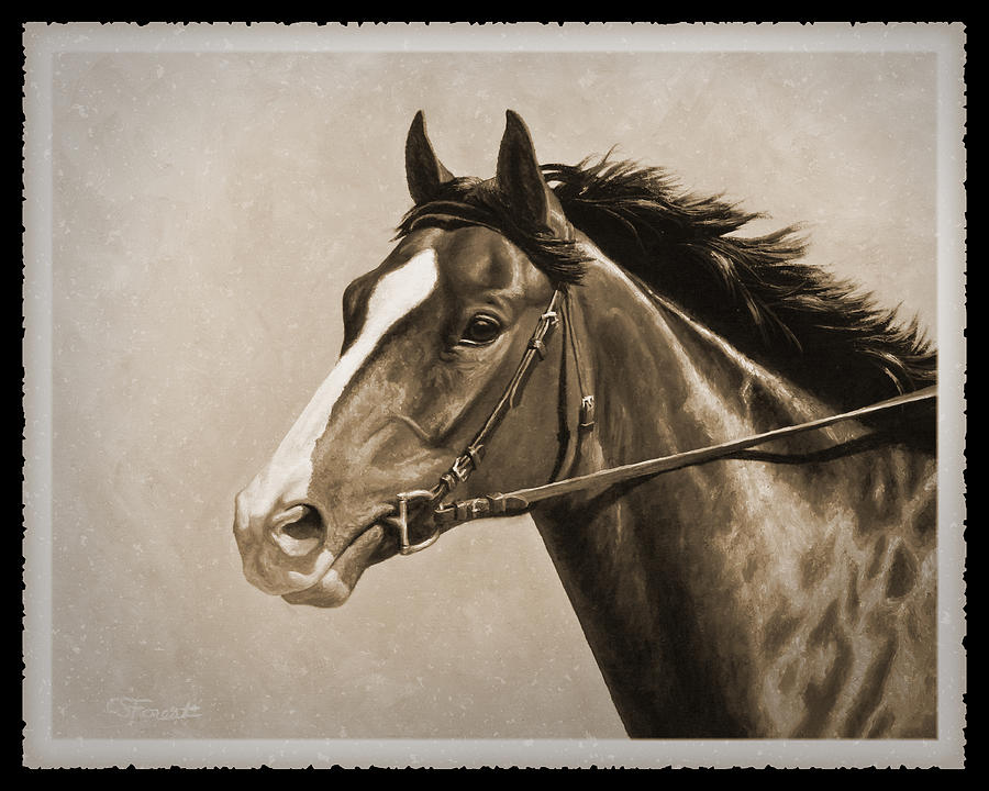 Horse Painting - Race Horse Old Photo Fx by Crista Forest