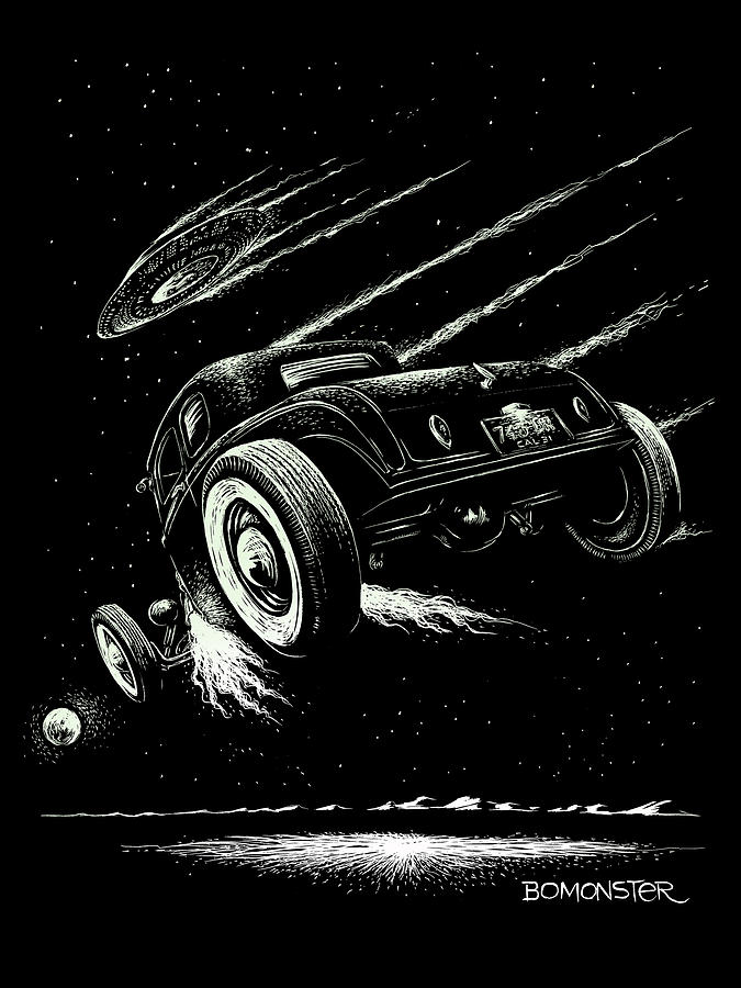 Hot Rod Drawing - Race To The Moon IIi by Bomonster