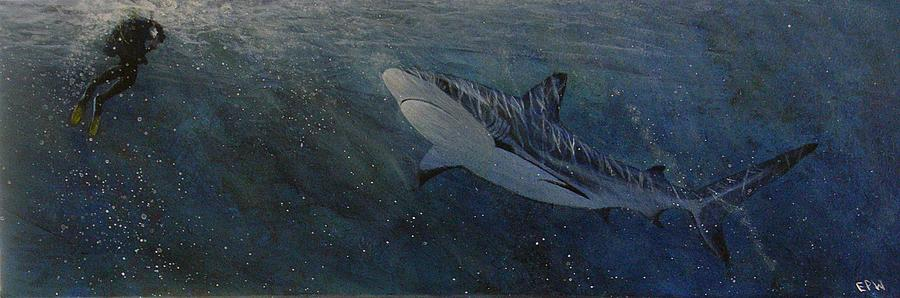 Underwater Painting - Race To The Surface by Edith Peterson-Watson