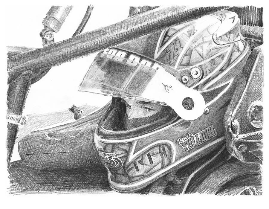 Racecar Driver Pencil Portrait  Drawing by Mike Theuer