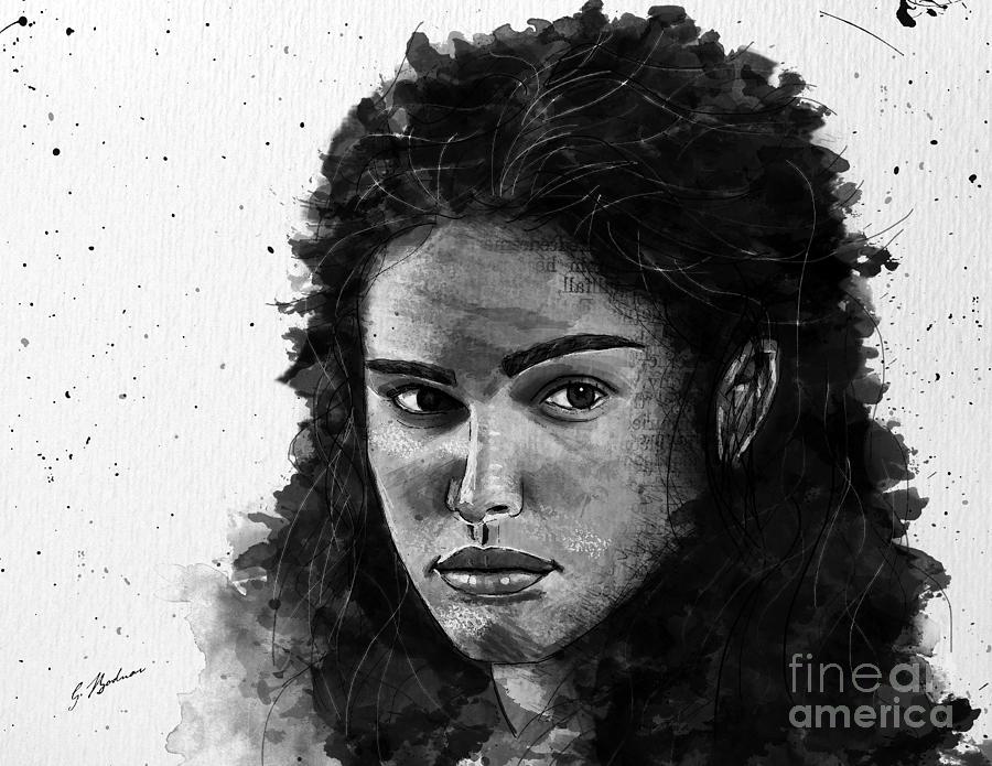 Watercolor Portrait Drawing - Rachel In Waiting by Gary Bodnar
