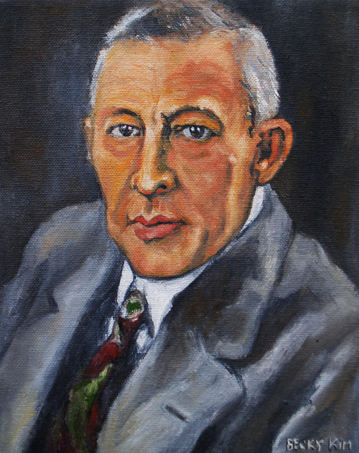 Oil Portrait Painting - Rachmaninov by Becky Kim