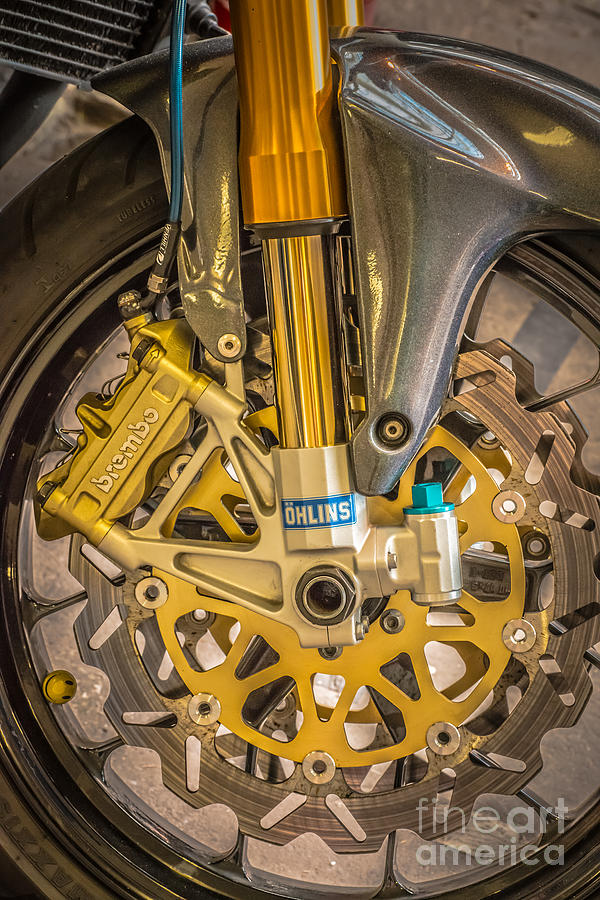 Colourful Photograph - Racing Bike Wheel With Brembo Brakes And Ohlins Shock Absorbers by Ian Monk