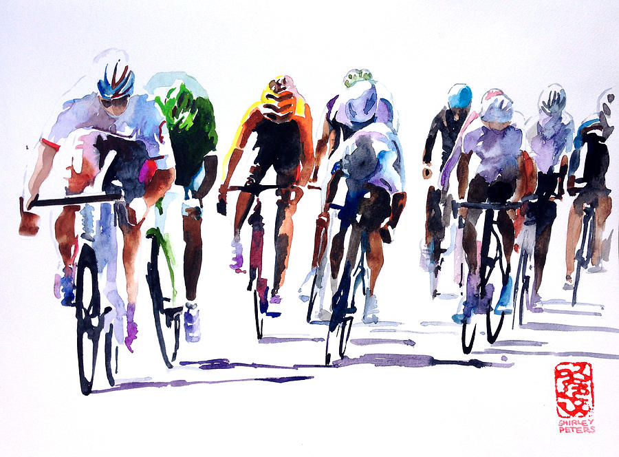 Speed Painting Painting - Racing Le Tour by Shirley  Peters
