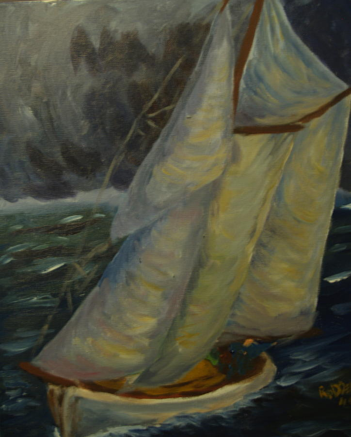 Seascape Painting - Racing The Storm by David  Rodden