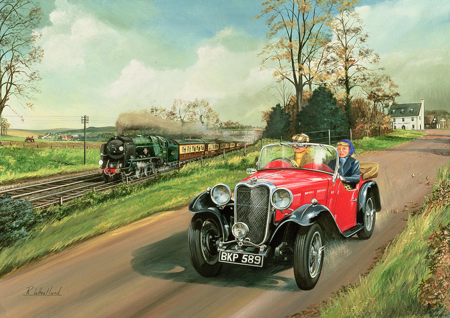 Rail Painting - Racing The Train by Richard Wheatland