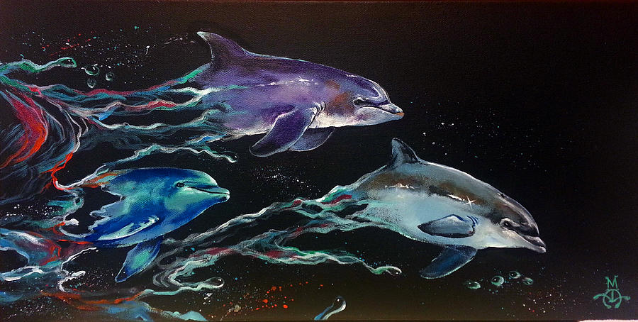 Dolphins Painting - Racing The Waves by Marco Antonio Aguilar