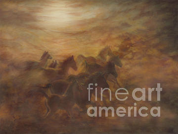 Horse Painting - Racing The Wind by Wendy Froshay
