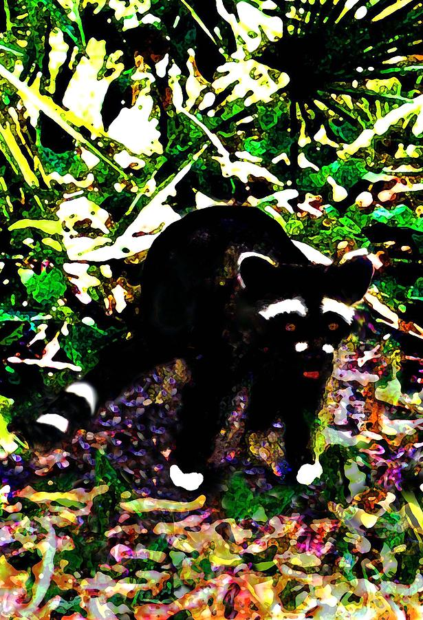 Digital Digital Art - Racoon At Faver-dykes Park by Dane Ann Smith Johnsen