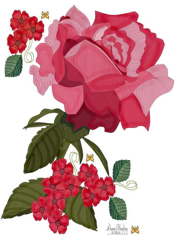 Red Rose Painting - Rad Pink and Red Rose by Anne Norskog
