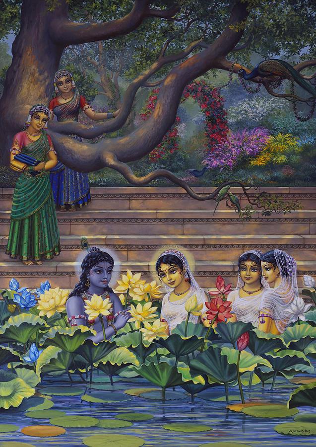 radha and krishna water pastime vrindavan das