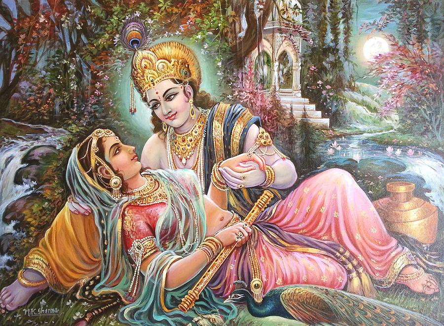 Radha Krishna Oil Canvas Painting By Mayur Sharma