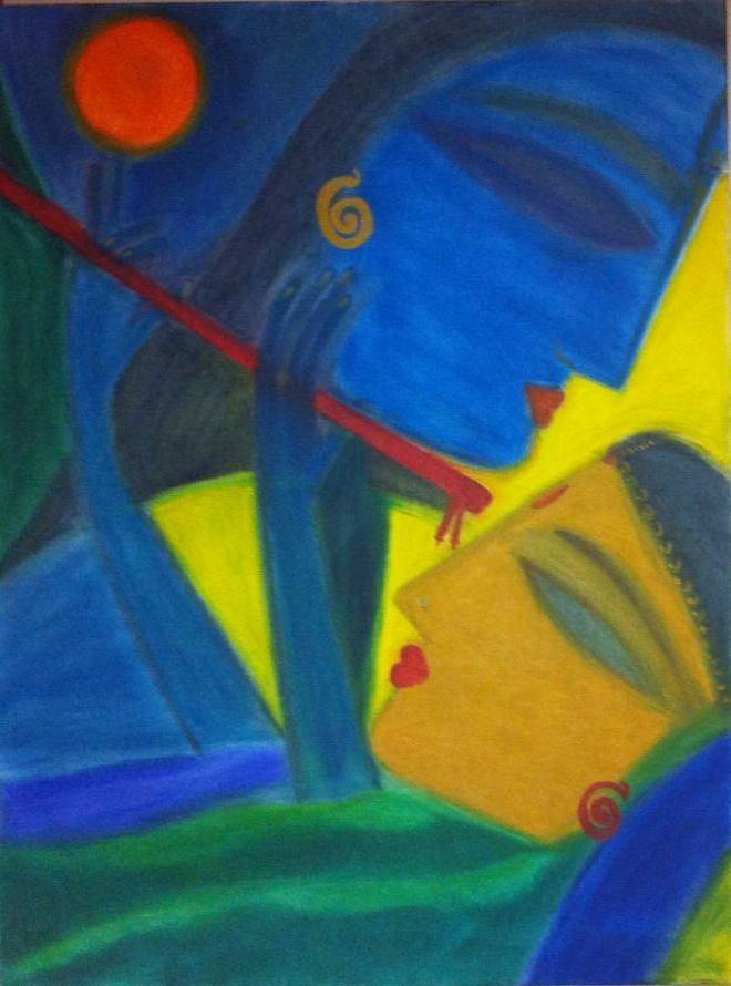 Radha Krishna Oil Painting Painting by Madhuri Krishna
