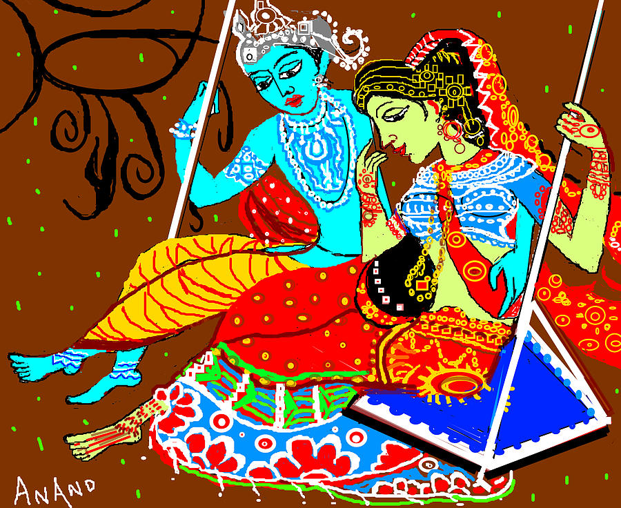 Digital Painting Digital Art - Radha Krishna On A Swing-13 by Anand Swaroop Manchiraju