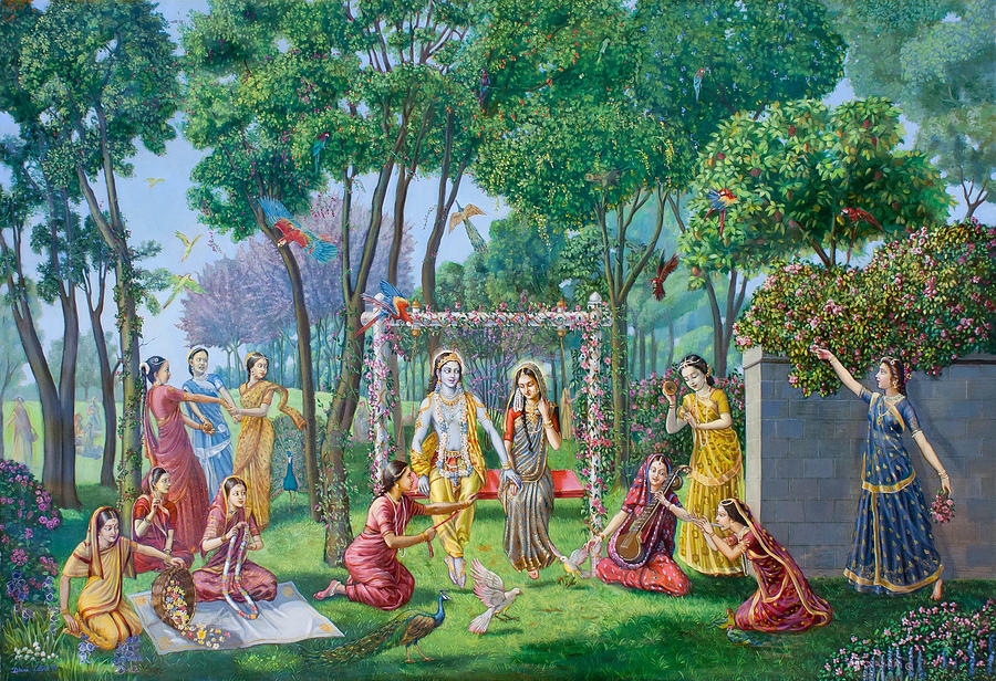 Oil Painting Painting - Radha Krishna On The Swing by Dominique Amendola