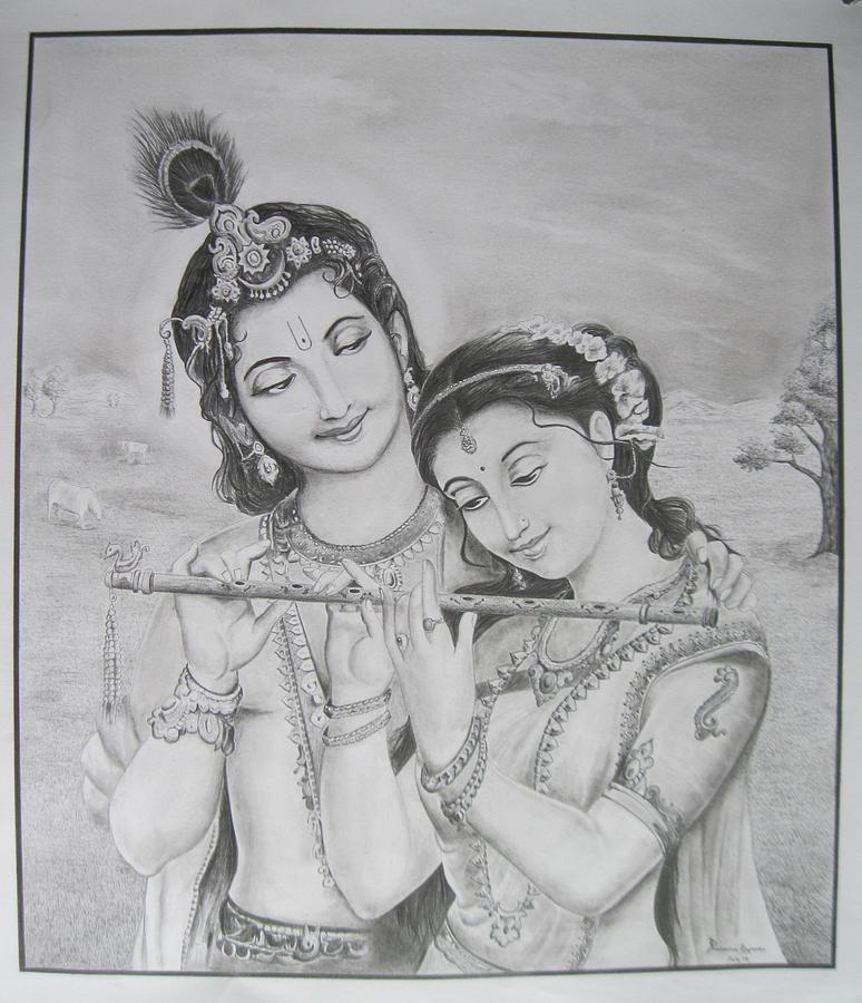 Pencil sketch drawing radha krishna by prasanna raghavan