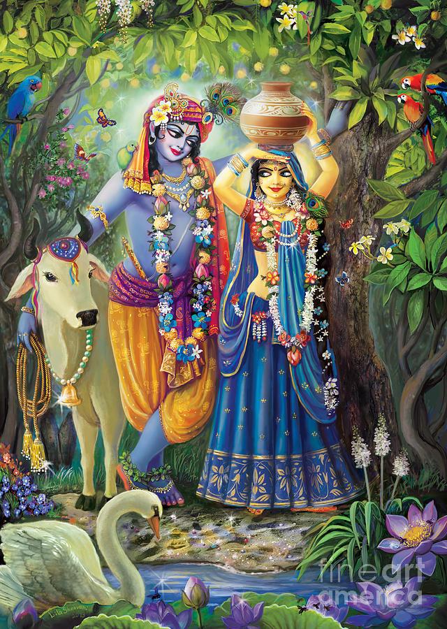 Radha-krishna Painting - Radha-krishna Radhakunda by Lila Shravani