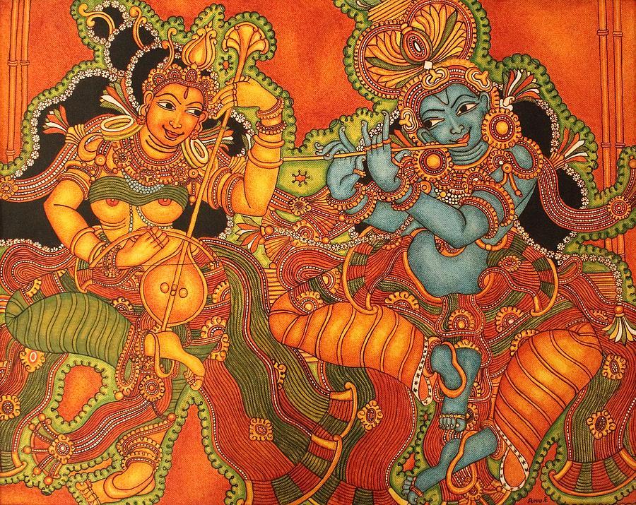 Radha Madhav Symbol of eternal love Painting by Anu Edasseri