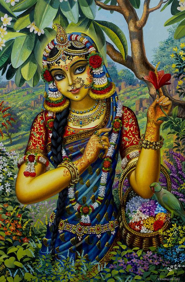 Krishna Painting - Radha On Govardhan Hill by Vrindavan Das