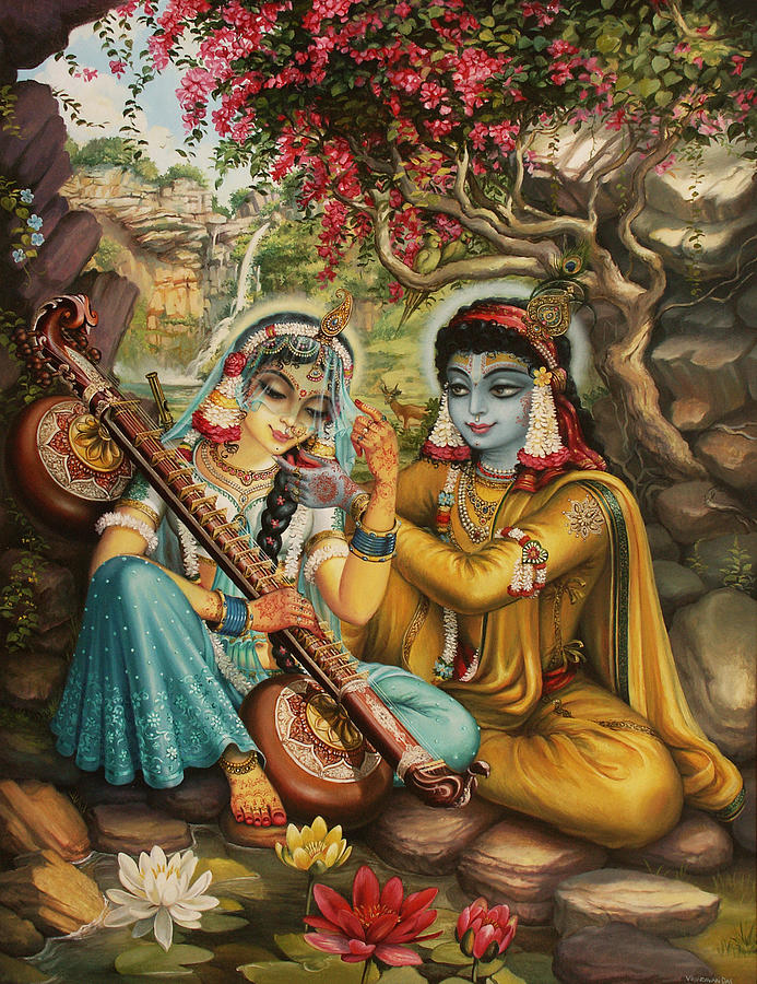 Krishna Painting - Radha Playing Vina by Vrindavan Das