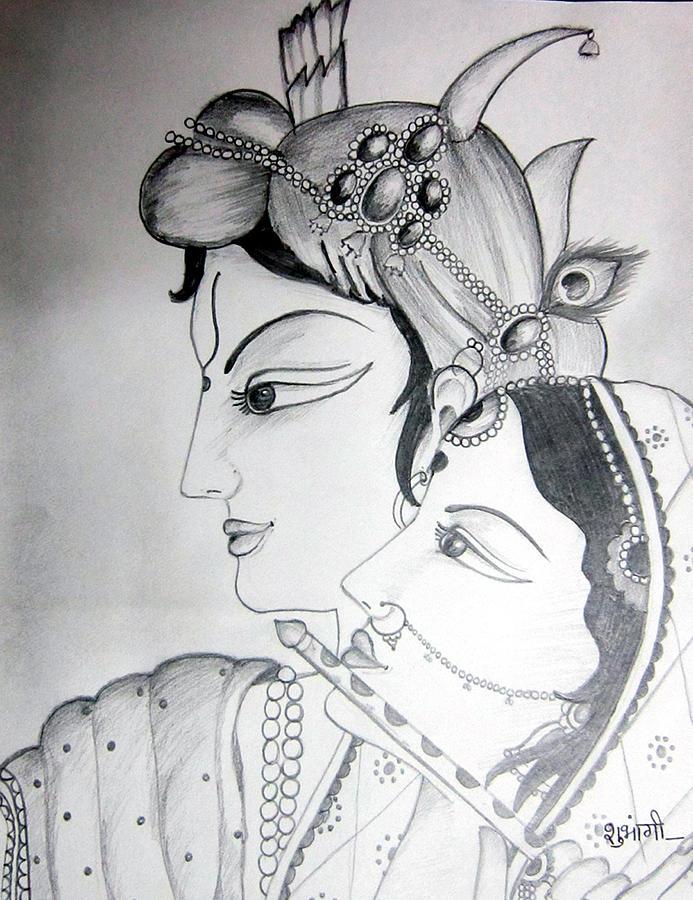 Radha with kanha drawing by shubhangi nautiyal