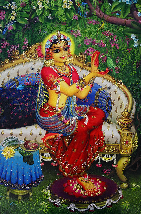 Krishna Painting - Radha With Parrot by Vrindavan Das