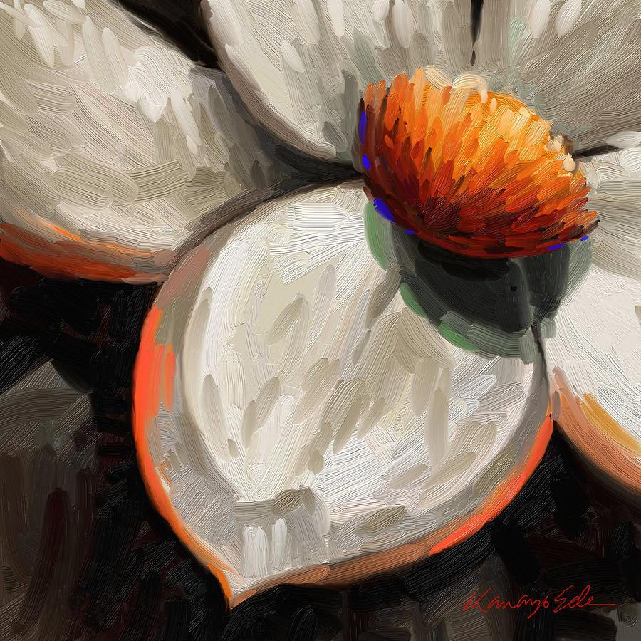Radiance Big White Flower Painting By Kanayo Ede
