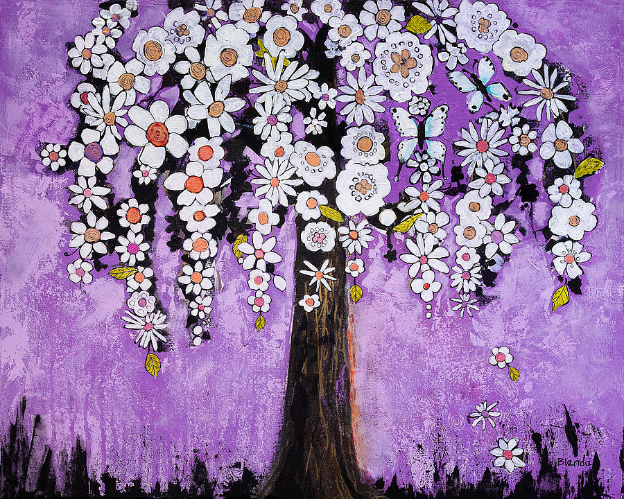 Tree Painting - Radiant Orchid Flower Tree by Blenda Studio