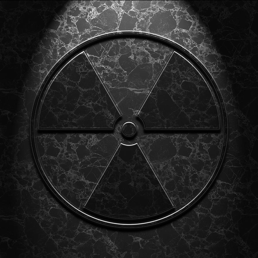 Aged Digital Art - Radioactive Symbol Black Marble Texture by Brian Carson