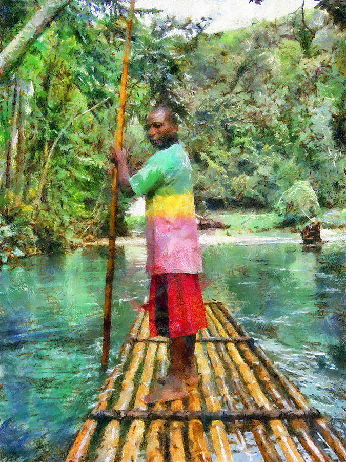 Tropical Painting - Rafting The Martha Brae by Lester Phipps