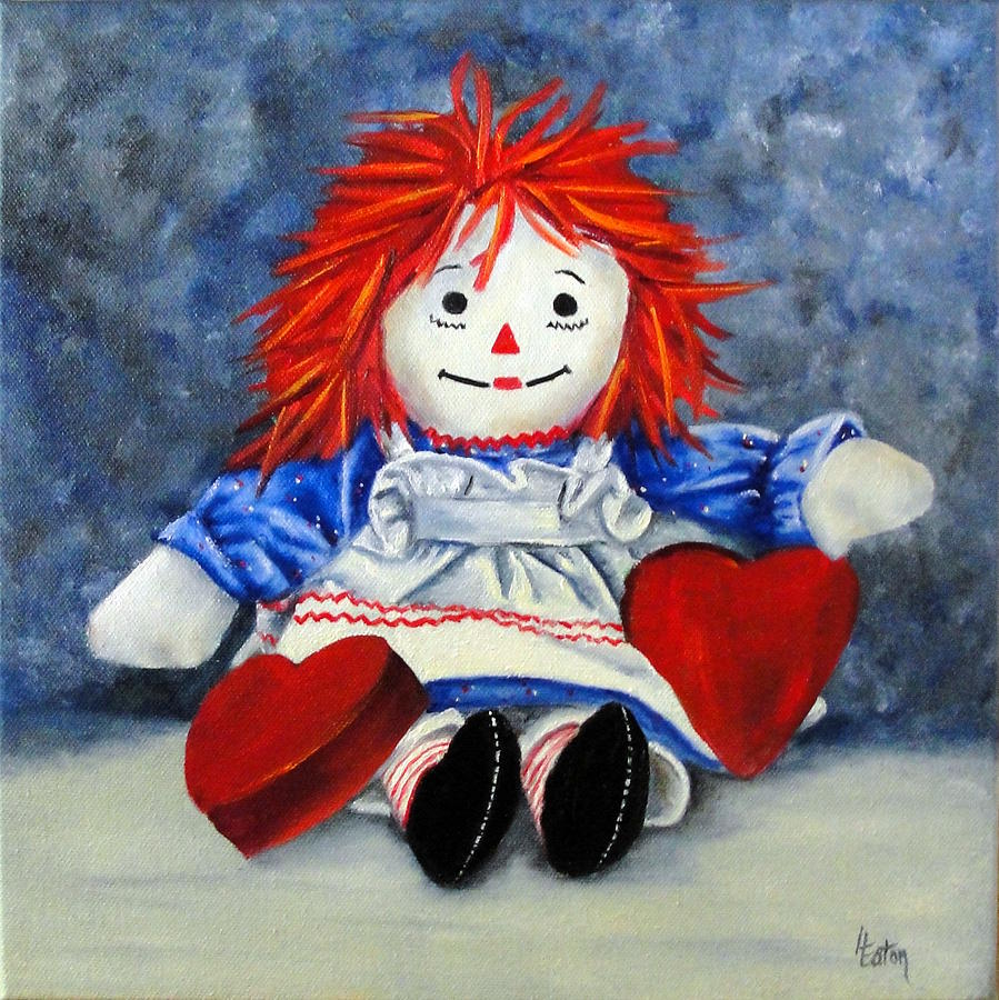 Raggedy Ann Painting - Raggedy Ann With Hearts by Helen Eaton