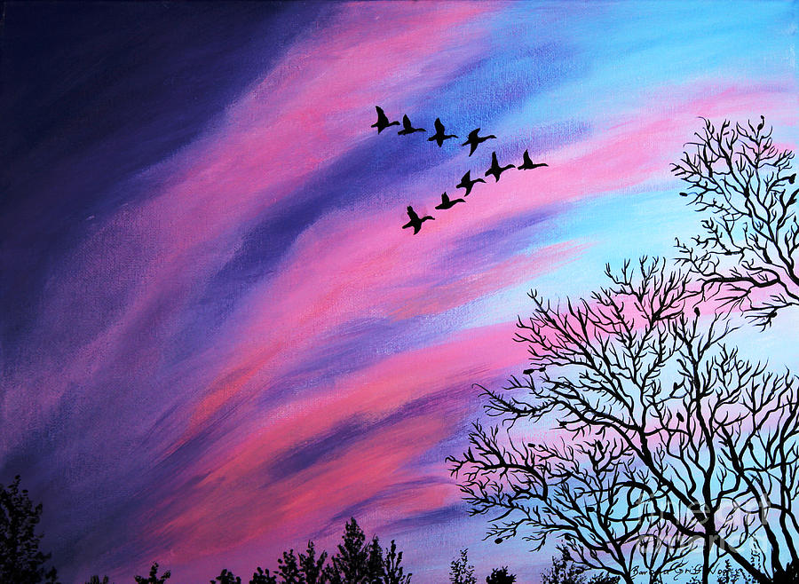 Raging Sky And Canada Geese Painting By Barbara Griffin