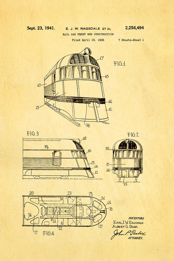 Engineer Photograph - Ragsdale Pioneer Zephyr Train 3 Patent Art 1941 by Ian Monk
