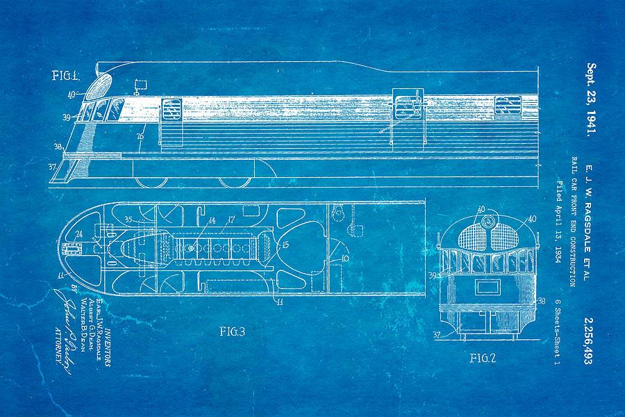 Ragsdale pioneer zephyr train patent art 1941 blueprint photograph engineer photograph ragsdale pioneer zephyr train patent art 1941 blueprint by ian monk malvernweather Choice Image