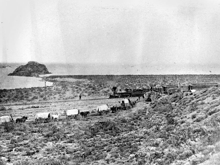19th Century Photograph - Railroad And Wagon Train by Granger
