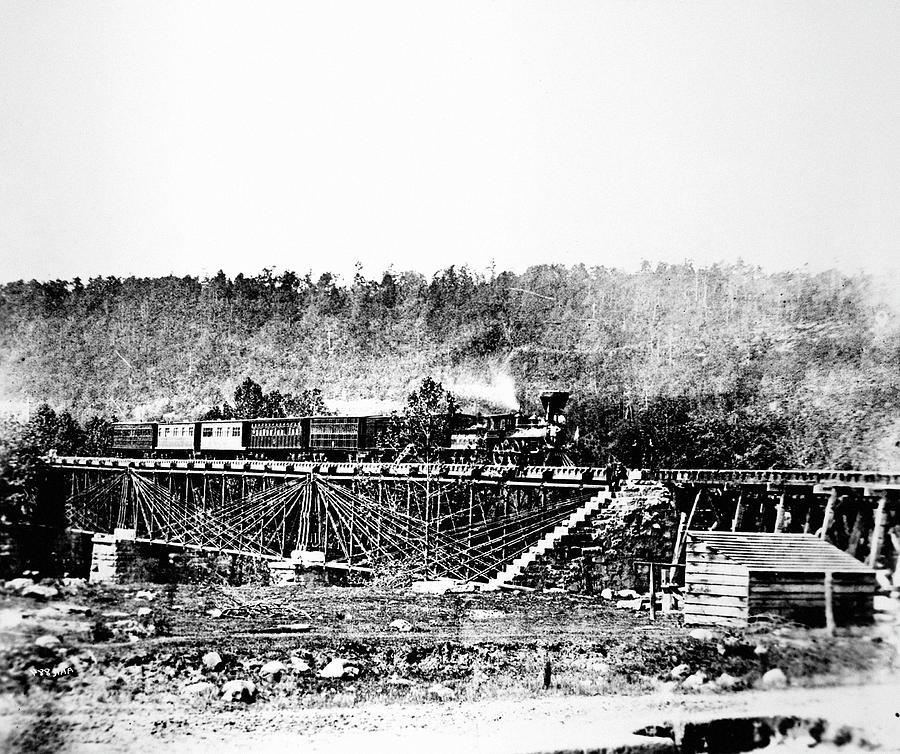 1858 Photograph - Railroad Bridge, 1858 by Granger