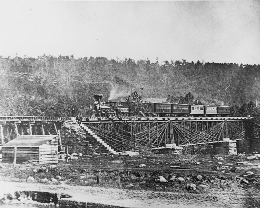 1860 Photograph - Railroad Bridge, C1860 by Granger