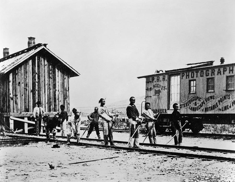 19th Century Photograph - Railroad Chinese Workers by Granger