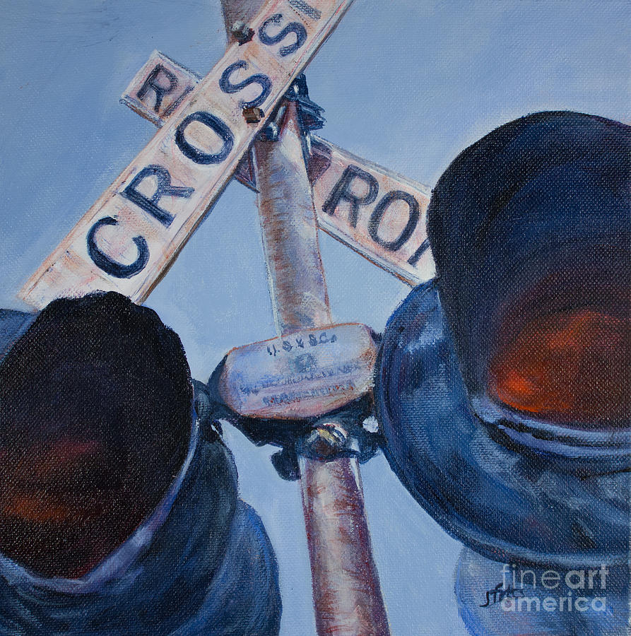 Vintage Painting - Railroad Crossing by Janet Felts
