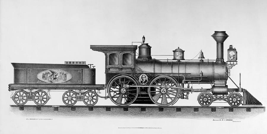 1874 Painting - Railroad Engine, C1874 by Granger