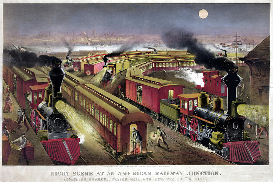 1876 Drawing - Railroad Junction, C1876 by Granger