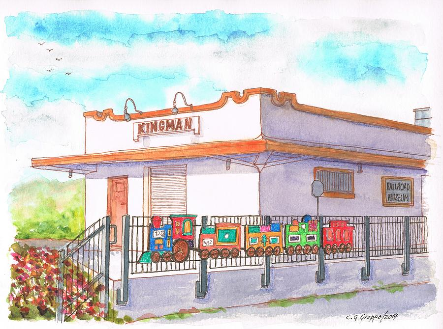 Railroad Museum Painting - Railroad Museum Route 66 Andy Devine Avenue - Kingman - Arizona by Carlos G Groppa