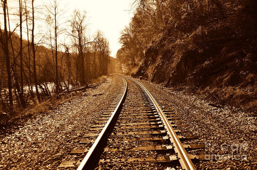Railroad Track Digital Art - Railroad Track by Cheryl Boutwell