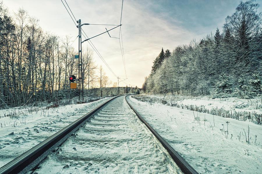 Railroad Track In A Snow Landscape Photograph by Cirano83