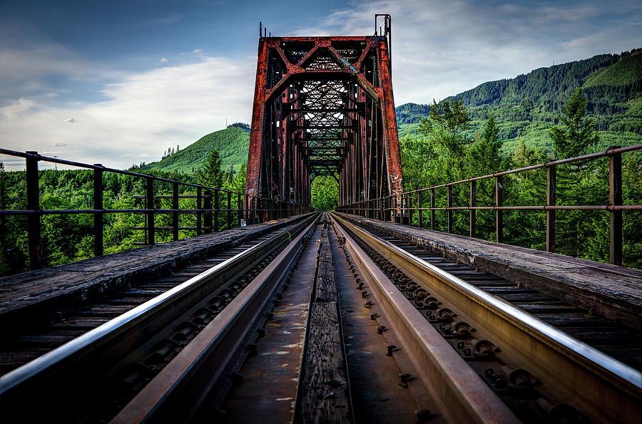 Railroad Tracks Angle Toward Bridge Photograph by Brian Xavier Photography