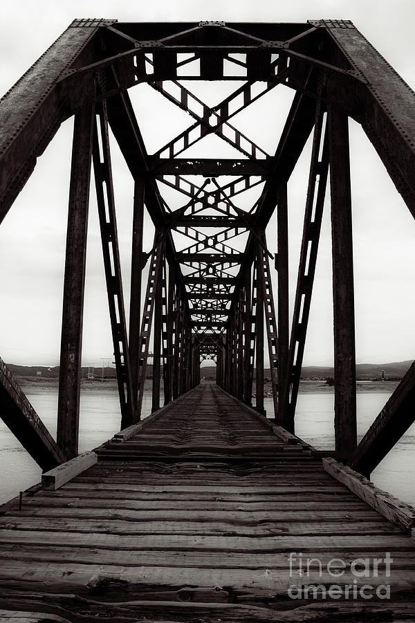 Old bridge photograph railroad train trestle black and white by miss dawn