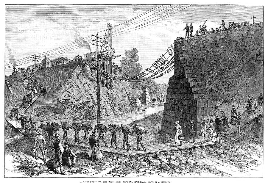 1885 Painting - Railroad Washout, 1885 by Granger