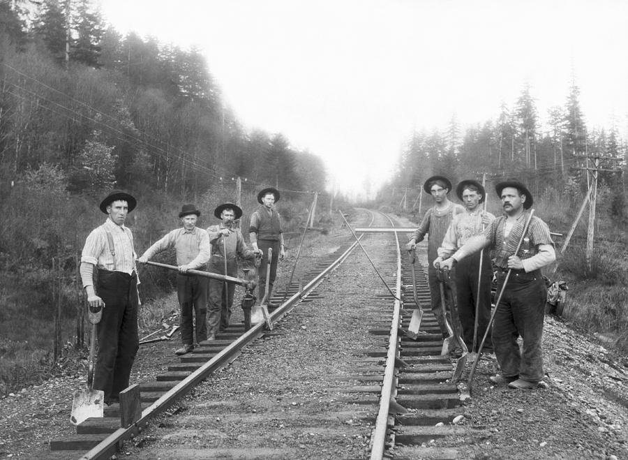 1890's Photograph - Railroad Workers by Underwood Archives